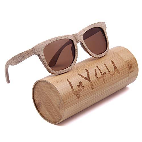 LY4U Herren- und Damen-Sonnenbrille aus Holz Vintage Eyewear Polarized Lenses Unisex-Sonnenbrille mit Bambusbox