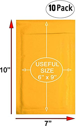 Amiff Kraft bubble mailers 6x9 Padded envelopes 6 x 9 Pack of 10 Kraft Paper cushion envelopes Exterior size 7x10 (7 x 10) Peel & Seal Mailing shipping packing packaging Photo #3