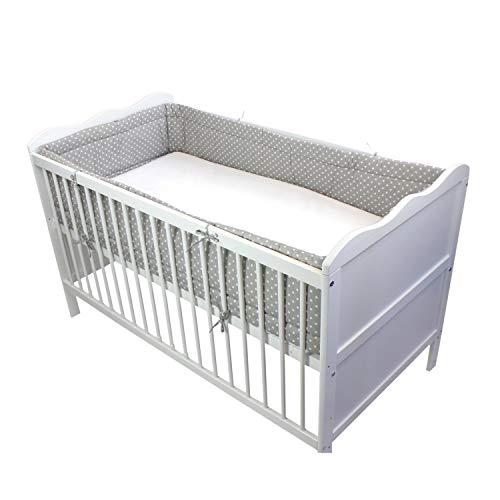 TupTam Baby Nestchen für Babybett Gemustert, Farbe: Tupfen Grau, Größe: 420x30cm (für Babybett 140x70)