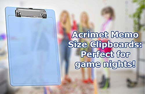 """Acrimet Clipboard Memo Size A5 (9 1/4"""" x 6 5/16"""") Low Profile Clip (Plastic) (Clear Blue Color) (3 Pack) Photo #4"""