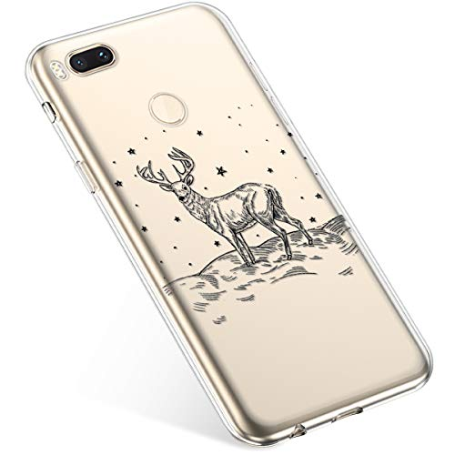 Uposao Coque pour Xiaomi Mi A1 / Mi 5X Etui Silicone TPU Housse Souple Transparente Coque Noël Cerf Flocon de Neige père Noël Sapin de Noël Elk Christmas Motif Ultra Mince Premium Hybrid Case Coque.