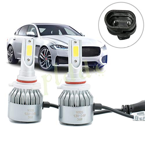PLDDE 2pcs 9005/HB3 6000K Cool White 7200LM All-in-One LED COB Bulbs Conversion Kit For Headlights High Low Beam Driving Fog Light DC 12V/24V IP67 Waterproof Pack of 2 Driver+Passenger Replacement