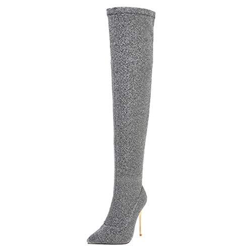 MISSUIT Damen Stretch Overknee Langschaft Stiefel Stiletto High Heels Boots Spitz über Knie Stiefel Winter Schlupfstiefel(Silber,46)