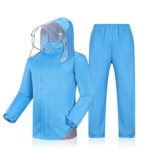 Radvihay Chaqueta Impermeable y Conjunto de Pantalones para la Lluvia, Adultos Impermeables, Impermeables, con Capucha, Chaqueta Impermeable Dividida, Trabajo al Aire Libre, Motocicleta, Golf, Pesca,