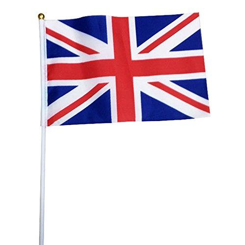 TRIXES 10 Stück britische Union Jack Fahnen mit Sticks rot weiß und blau für Sportveranstaltungen und andere Nationale Feierlichkeiten