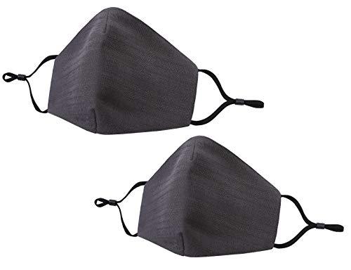 Allsense Unisex Premium Quality Protective Durable Reusable Breathable Comfortable Fashion Face Scarf Mask Covering Cotton Linen Charcoal 2pk