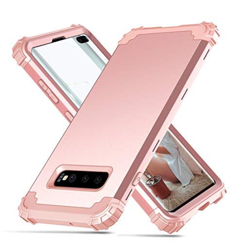 MUSESHOP Compatible Funda Samsung Galaxy S10 Plus, [3 en 1] Carcasa Ultrafina Delgado Flexible Suave PC+TPU+PC Case Cover Soltar / Proteger la Pantalla/Cámara del Teléfono Móvil - Oro rosa, oro rosa