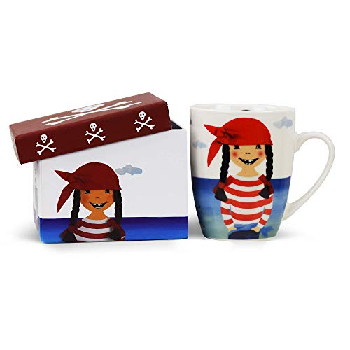 Kindertasse mit Piratin Paula in Geschenkbox Porzellan-Tasse Unisex-Kinder Tasse mit Piraten Motiv Mädchen Geburtstag Geschenke Kinder Spülmachinenfest & Mikrowellengeeignet
