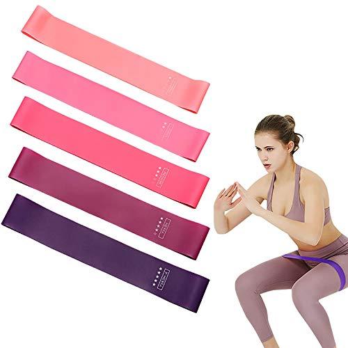 Banda elástica de Fitness, [Paquete de 5] Banda de Resistencia 5 Niveles de Fuerza, Equipo de Ejercicio de látex Natural para Culturismo / Pilates / Yoga