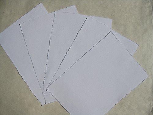 handgeschöpftes Büttenpapier Aquarellpapier A4 10 Bogen/Set extrastark 300g/m² naturweiß BaumwollLinters