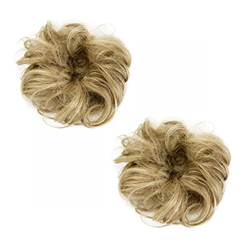 Hioffer Curly Messy Bun hair Extension 100% Human hair Scrunchies Hair Updo Donut Hairpiece Chignons(2PCS)