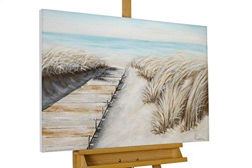 KunstLoft® Acryl Gemälde 'October Dunes' 90x60cm | original handgemalte Leinwand Bilder XXL | Strand Meer Beige Urlaub Wasser | Wandbild Acrylbild Moderne Kunst einteilig mit Rahmen