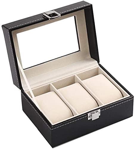 Serrale Caja de reloj Organizador de cuero PU de 3 rejillas Elegante caja de reloj con cojín extraíble Pantalla de reloj para relojes Exhibición de joyas