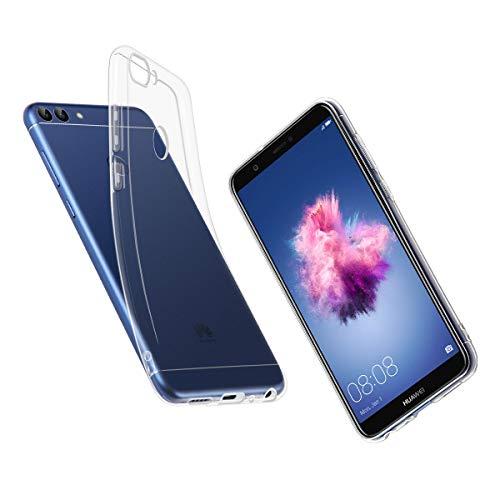 ELZO Funda para Huawei P Smart - Carcasa Transparente TPU con Shock- Absorción y Anti-Arañazos Borrar Espalda Solo para Huawei P Smart - Transparente