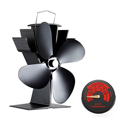 Kaminventilator 4 Blätter Kamin Ofen Ventilator, CRSURE SF-334 Stromloser Feuerstelle Kaminöfen Wärmebetriebener Ofenventilator Große Räume für Kaminofen Holzöfen Umweltfreundlich ohne Strom