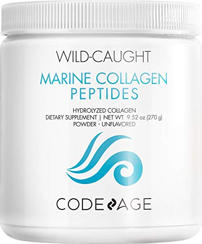 Codeage Marine Collagen Powder - Wild-Caught Hydrolyzed Fish Collagen Peptides - Type 1 & 3 Collagen Protein Supplement - Amino Acids for Skin, Hair, Nails - Paleo Friendly, Non-GMO, 270 g