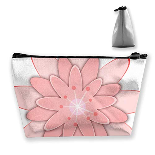 Clipart Pink Fox Flower Femmes Sac cosmétique multifonctions Organisateur de toilettes Sac Portable de Voyage Capacité de lavage avec fermeture éclair (trapézoïdal)