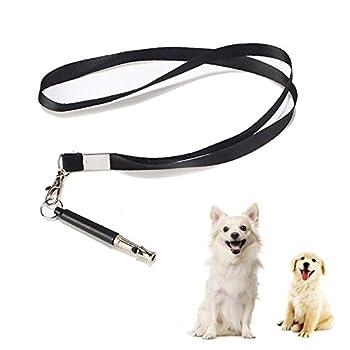 Sifflet à ultrasons pour chien - Sifflet d'entraînement professionnel réglable avec 1 cordon gratuit pour un entraînement efficace des chiens, les commandes de base et les aboiements