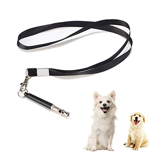 Hundepfeife, Professionelle Ultraschall Pfeife, Einstellbare Hochfrequenz Hunde Zubehör mit Schlüsselband für Hundetraining, Schwarz