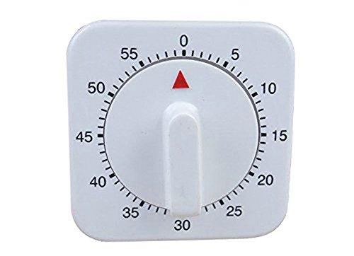 Da.Wa 60 Minute Quadrat Timer Mechanischer Zeitschaltuhr Erinnerung für Küche,1 Stück, Weiss