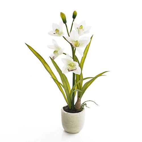 artplants.de Set 2 x künstliche Cymbidium Orchidee NALA, 1 Zweig, im Topf, Creme - weiß, 50cm - Kunstorchideen - Kunstblumen
