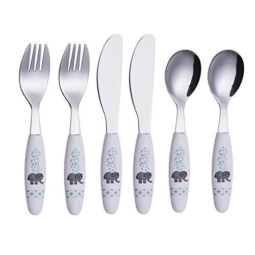 EXZACT Posate per Bambini in acciaio inox 6 pezzi Set - 2 x forchetta, 2 x coltelli, 2 x Cucchiai Cena (Elefante x 6)