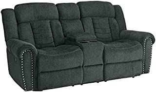 Homelegance Nutmeg Upholstered Double Reclining Loveseat with Console, Charcoal Gray