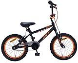 Amigo Danger – Bicicleta infantil para niños – 16 pulgadas – con frenos de mano y manillar acolchado – Bicicleta BMX – a partir de 4 – 6 años – negro/naranja