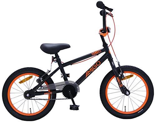 Amigo Danger - Bicicletta per bambini 16 pollici - Per Bambino e Bambina da 4 a 6 anni - Bicicletta BMX con freni a mano - Nero/Arancione