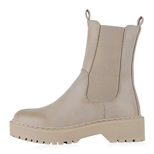 Giralin Damen Plateau Boots Blockabsatz Stiefeletten Freizeit Schuhe Kunstleder Booties Plateauschuhe Stiefel 200094 Nude Beige 40