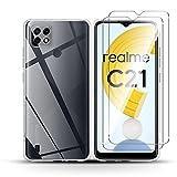QULLOO para Realme C21 Funda [1 Pack] + Realme C21 Protector de Pantalla [2 Pack],9H Dureza Film Cristal Templado Ultra Fina Silicona Flexible TPU Cover - Transparent