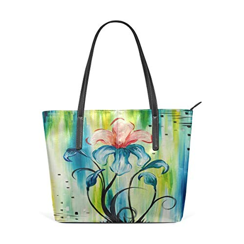 XGBags Custom Borsa a tracolla in pelle PU da donna Womens Purse Irises In Bloom PU Leather Shoulder Tote Bag