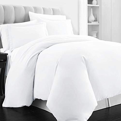 Pizuna 400 Thread Count White King Duvet Cover Set, 100 Long Staple Cotton Quilt Cover King/Cal King Size, Soft Breathable Bed Set with Hidden Button Closure (100% Cotton Bedding Set White)