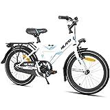 HILAND - Bicicletta per bambini da 18 pollici, 4 – 7 anni, con sedile posteriore/portapacchi, freno a mano e contropedale nero/bianco
