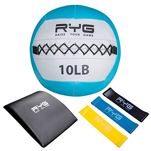 Raise Your Game Wall Ball Core Workout Set with Ab Mat, Soft Crossfit Medicine Ball for Muscle Building, Core & Plyometric Training (10lb Ball)