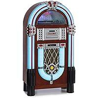 auna Graceland Dab Jukebox - Bluetooth, Reproductor de CD, Tocadiscos, sintonizador de Radio Dab+/FM, iluminacíon SRC LED, Puerto USB, Ranura SD, Entrada AUX, Carcasa con estética de Madera de Roble