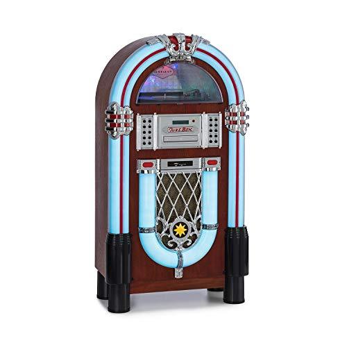 auna Graceland DAB Jukebox, Bluetooth-Funktion, CD-Player, Plattenspieler, DAB+/UKW-Radiotuner, SRC LED Lighting System, USB-Port, SD-Slot, AUX-Eingang, Designgehäuse mit Eichenholz-Optik