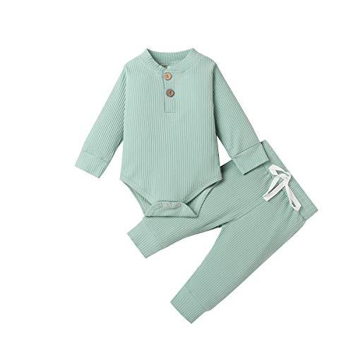 Pijamas para bebés recién Nacidos, Pantalones de Mameluco de Manga Larga, Trajes para bebés, Acanalados, a Rayas, Otoño Invierno, Ropa de Abrigo (Verde Claro, 3-6 Meses)