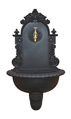 VERDELOOK Fontana a Muro da Giardino in ghisa con Rubinetto, 44x21x75 cm, Nero Antracite per arredo e Decorazione Esterni