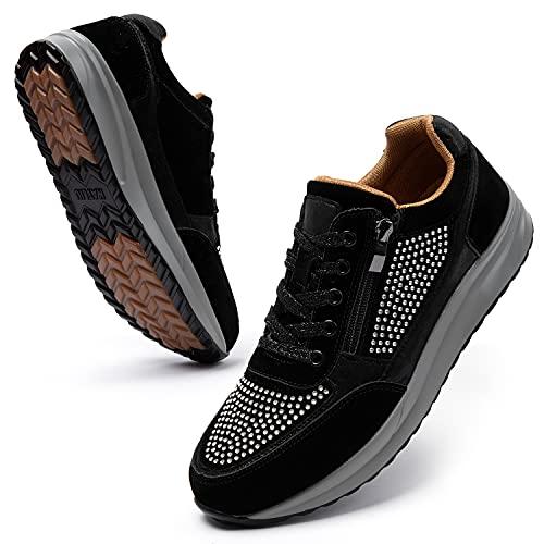katliu Women Glitter Fashion Sneakers Comfort Lightweight Walking Shoes Lace Up Sport Shoes Black
