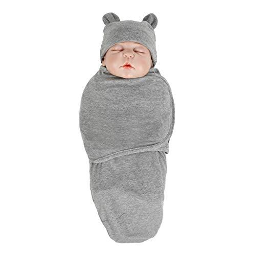 Huhu833 Ganzjahres Baby Schlafsack, Neugeborenes Baby Baumwolle Wickeln Swaddle Sack Weiche Schlafdecke Herbst Winter Swaddle Pucksack + Hut Set (Dunkel Grau)