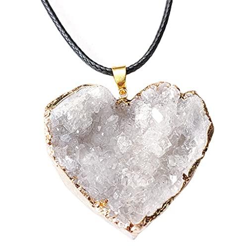 Haorw Colgante de Piedra Natural de corazón Pulido de Cristal de Cuarzo Blanco Hermoso Natural para Mujeres Hombres niñas niños