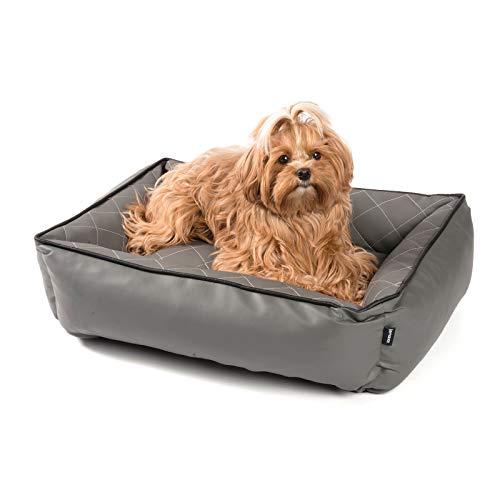 JAMAXX Orthopädisches Hundebett Kunstleder mit Memory Schaumstoff, Wasserabweisend Abwaschbar Hygienisch, Gelenkschonend, Hundekorb Hunde-Körbchen, PDB2010 grau (S) 65x50