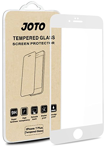 JOTO iPhone 8 Plus / 7 Plus Screen Protector, Full Screen Tempered Glass Screen Protector Film, Edge to Edge Protection Screen Cover Saver Guard for Apple iPhone 8 Plus/iPhone 7 Plus 5.5 Inch -White