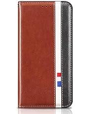 MOTOUREN Funda iPhone 7/iPhone 8 Flip Case con Protector de Pantalla Antigolpes PU Cuero Cover Función de Soporte Billetera con Tapa Tarjetas Marrón