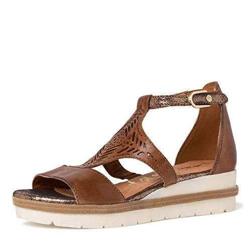 Tamaris Mujer Sandalias, señora Sandalia con Tiras,Touch It,Sandalia,Zapato de Verano,Sandalia de Verano,cómoda,Plana,Nut Comb,37 EU / 4 UK