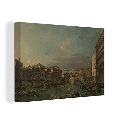 Leinwandbild - Regatta auf dem Canal Grande in der Nähe der Rialto-Brücke in Venedig - Gemälde von Francesco Guardi - 120x80 cm
