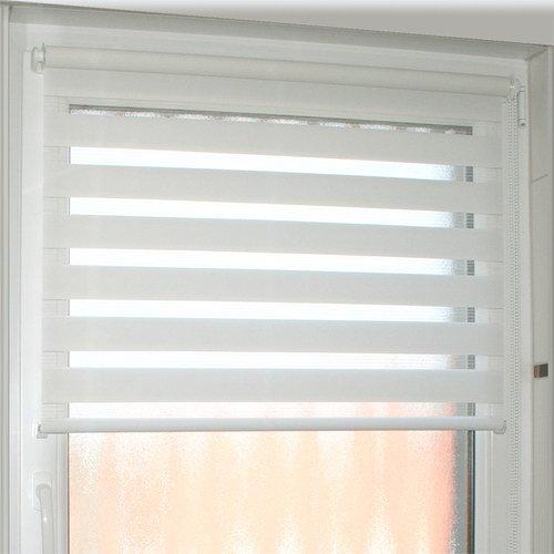 INTERDECO Doppelrollos/Duo-Rollos/Zebra-Rollos Weiß BxH 114,5 x 150 cm ohne Bohren (Klemmfix-Rollo), Seitenzugrollo lichtdurchlässig/Blickdicht