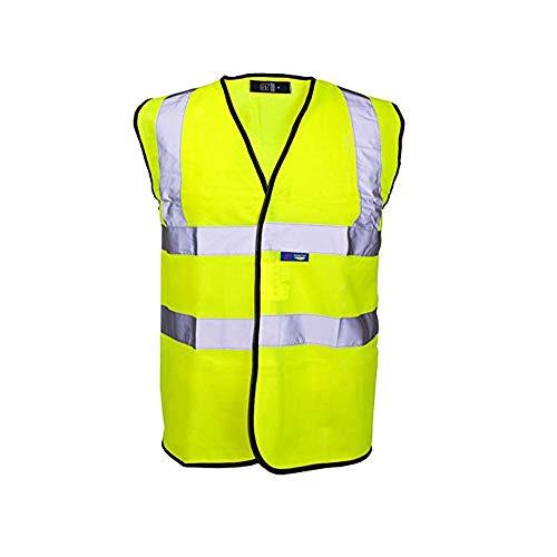 Heren Dames Unisex Hi Viz 2 Band & Braces Veiligheid Vest Maat Klein tot 12XL 7XL 160cm-168cm Geel