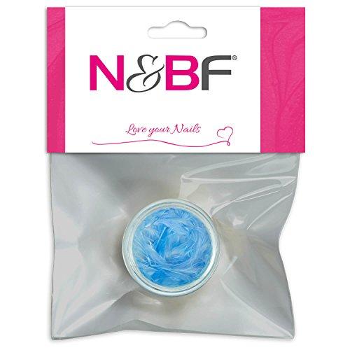 N&BF Nail Art Federn Baby Blue (Blau) | Nageldesign Federn als Einleger für Gel, Nagellack und Acryl Modellagen | 3D Inlay Feder | Nagel Dekoration | Feather Schmuck